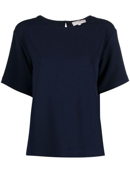 Синяя блузка с короткими рукавами с вырезом Antonelli