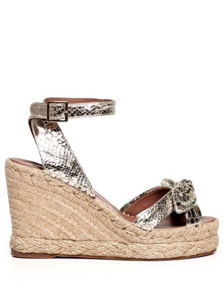 Złote sandały na platformie klamry Tabitha Simmons