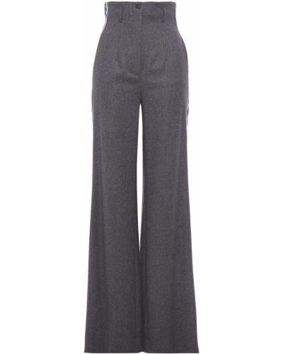 Шерстяные серые брюки в полоску Stella Jean