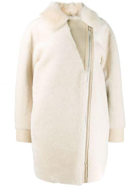 Кожаное пальто классическое с воротником на молнии Cara Mila
