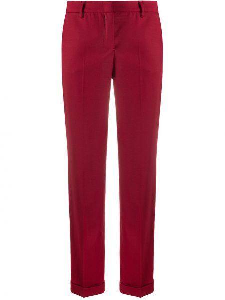 Брючные шерстяные красные брюки с поясом Tonello