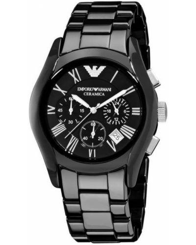 Czarny zegarek kwarcowy w paski casual Emporio Armani
