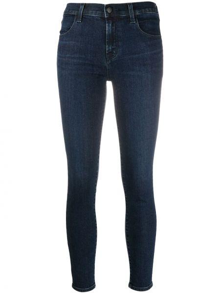 Хлопковые синие с завышенной талией джинсы с высокой посадкой стрейч J Brand