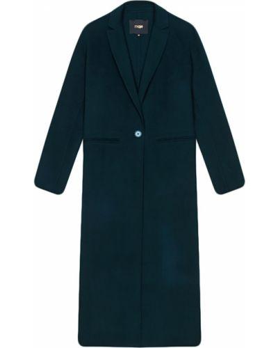 Длинное пальто зеленое шерстяное Maje
