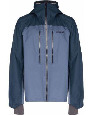 Синяя куртка с капюшоном с манжетами с вышивкой Norrona