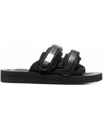 Sandały skórzane na platformie - czarne Suicoke