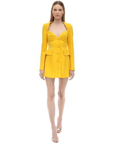 Żółta sukienka długa z długimi rękawami z wiskozy Marianna Senchina