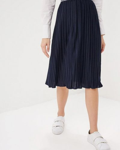 Плиссированная юбка весенняя синяя Tom Tailor