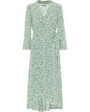 Облегающее платье с запахом с цветочным принтом Ganni
