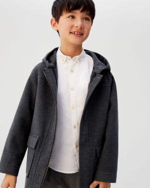 Szary płaszcz z kapturem z wiskozy Mango Kids