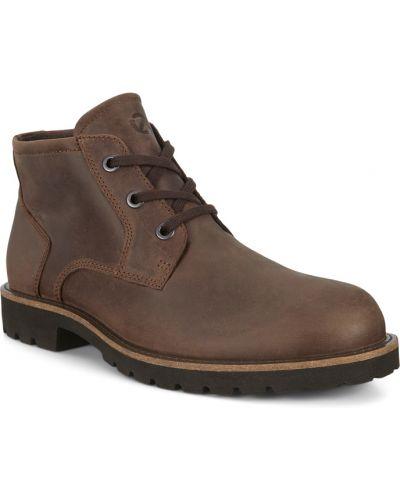 Коричневые модные ботинки на шнурках Ecco