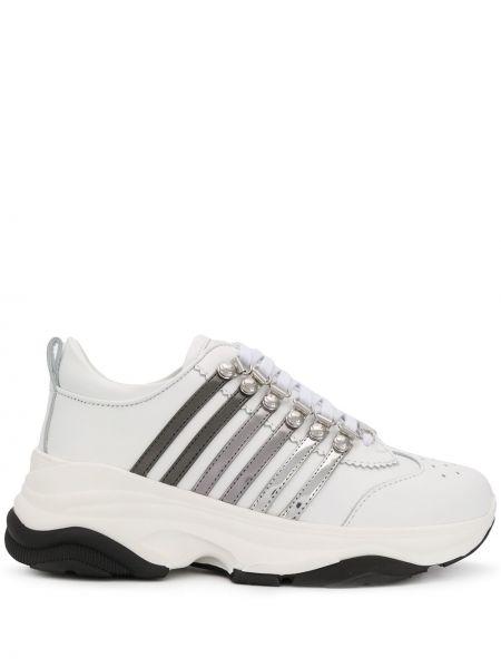 Кожаные кроссовки на тонкой подошве с перфорацией Dsquared2