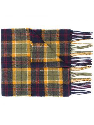 Зеленый шерстяной шарф с опушкой Barbour