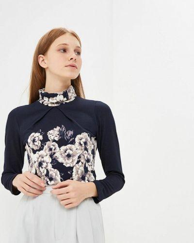 Блузка с длинным рукавом синяя Арт-Деко
