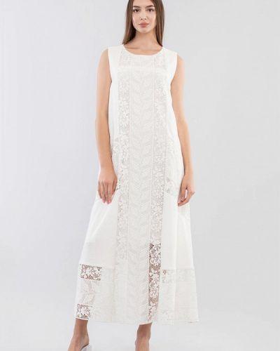 Прямое белое платье А-силуэта Maxa
