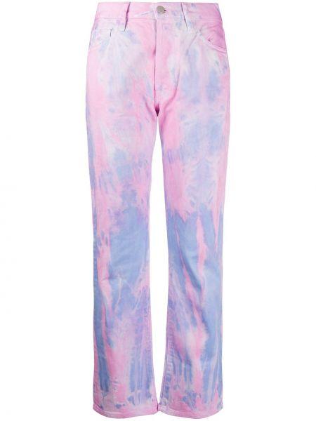 Хлопковые розовые прямые джинсы с карманами на пуговицах Aries
