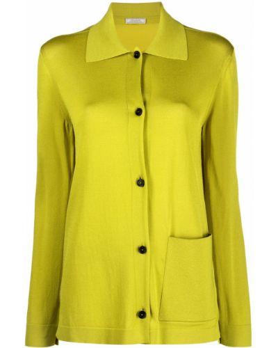 Желтая классическая рубашка с воротником с карманами Nina Ricci