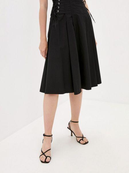 Черная широкая юбка осенняя B.style