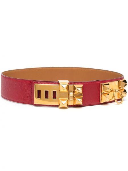 Коричневый кожаный ремень с заклепками Hermès