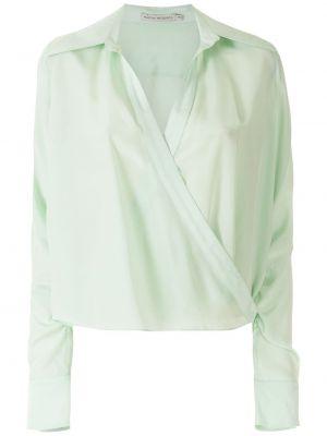 Шелковая зеленая с рукавами классическая рубашка Martha Medeiros