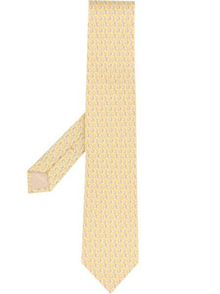 Jedwab klasyczny żółty krawat Salvatore Ferragamo