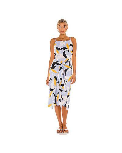 Синее платье миди с запахом из вискозы Seafolly