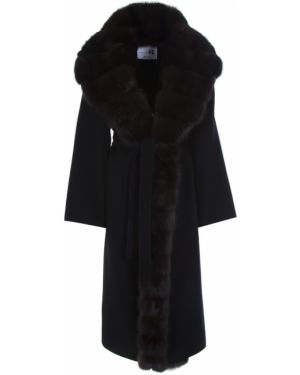 Приталенное шерстяное пальто классическое с воротником с поясом Manzoni 24