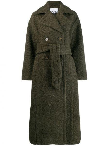 Шерстяное пальто классическое с поясом Ganni