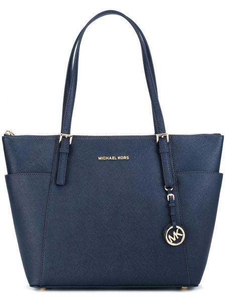 Кожаная сумка шоппер синий Michael Michael Kors
