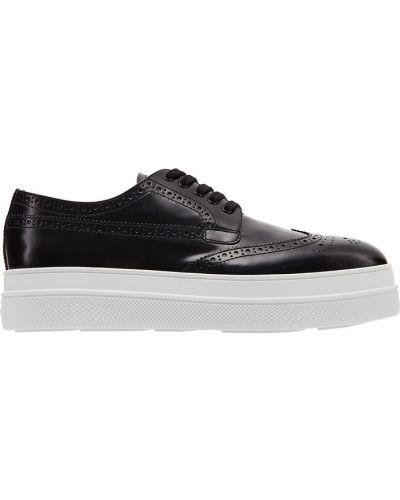 Черные кожаные ботинки на платформе Prada