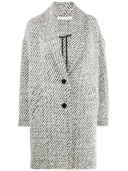 Черное однобортное шерстяное длинное пальто с карманами Iro