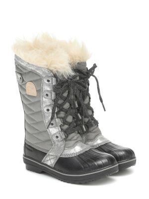 Szary ażurowy włókienniczy buty zasznurować Sorel Kids