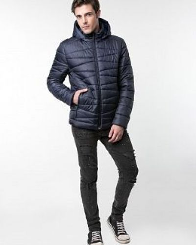 Утепленная синяя куртка с воротником каляев