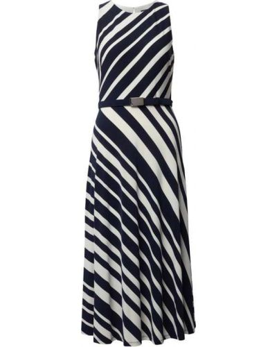Sukienka midi bez rękawów - niebieska Lauren Ralph Lauren