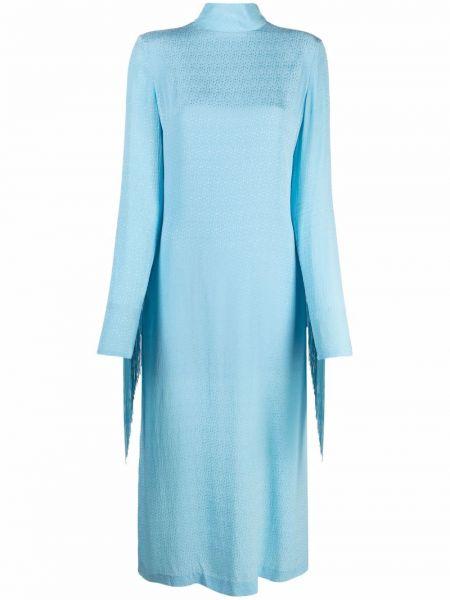 Платье макси с длинными рукавами - синее Rotate