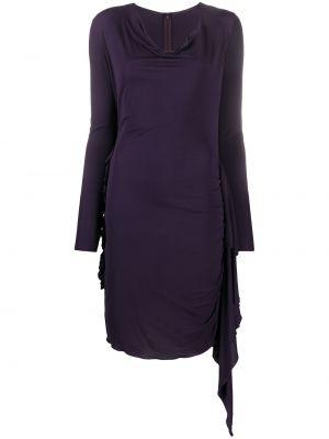 Фиолетовое платье на молнии эластичное из вискозы Jean Paul Gaultier Pre-owned
