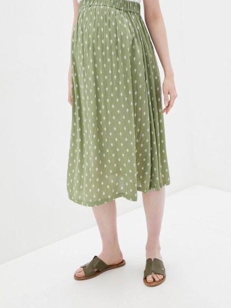 Плиссированная юбка зеленый хаки Mama.licious