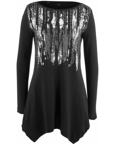 Блузка с пайетками черная Bonprix