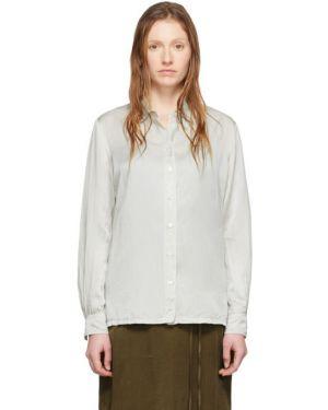 Блузка с длинным рукавом шелковая с воротником-стойкой Raquel Allegra