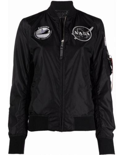 Черная длинная куртка с воротником с длинными рукавами Alpha Industries