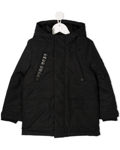 Черное пальто классическое с капюшоном с потайной застежкой Boss Kidswear