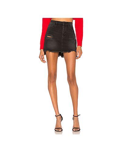 Синяя джинсовая юбка с карманами на пуговицах Kendall + Kylie