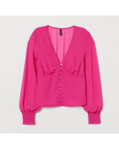 Розовая блузка с длинными рукавами на резинке H&m