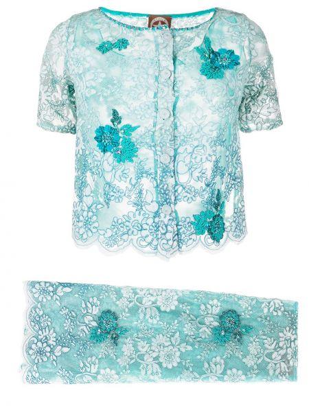 Niebieski garnitur z wiskozy vintage A.n.g.e.l.o. Vintage Cult