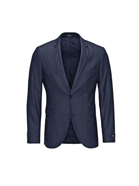 Темно-синий пиджак на пуговицах из вискозы узкого кроя Jack & Jones Premium