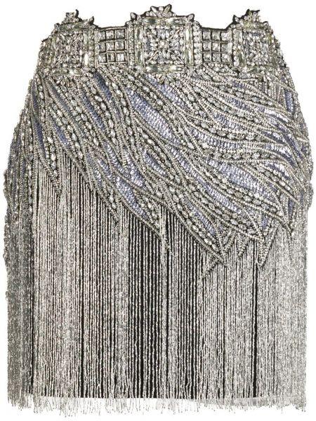 Черная с завышенной талией юбка мини с бисером из вискозы Amen.