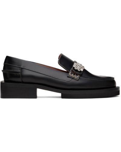 Czarne loafers kaskadowe skorzane Ganni
