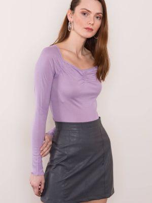Fioletowa koszula z długimi rękawami z wiskozy Fashionhunters
