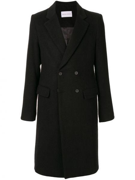 Черное шерстяное длинное пальто двубортное с подкладкой Strateas Carlucci