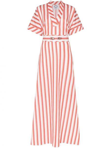 Pomarańczowa sukienka mini w paski bawełniana Evi Grintela
